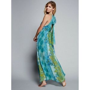 New Free People Unattainable Maxi Dress Blue Green